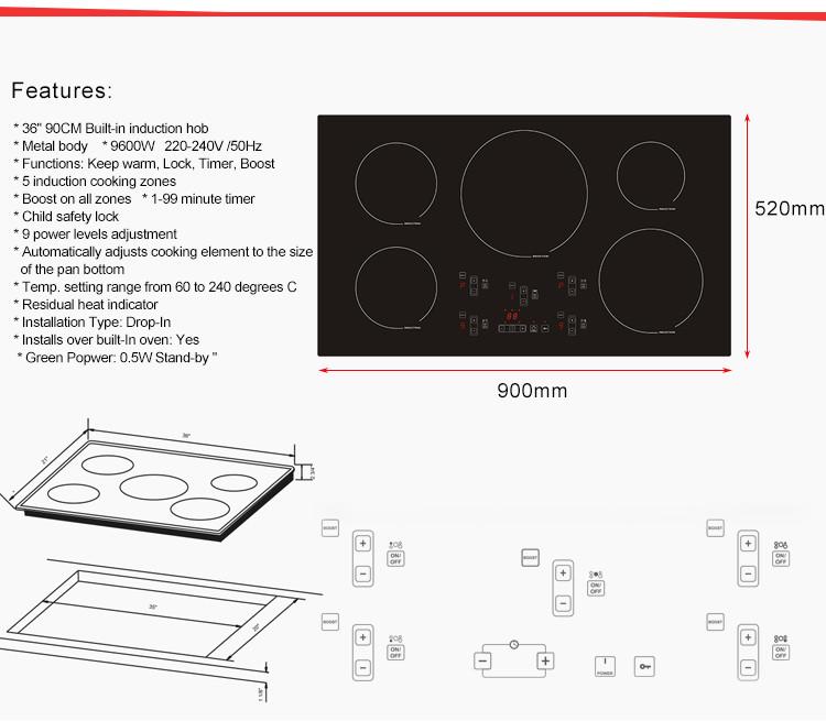 5 Zone Induction Hob 90cm Built In BM IV9001